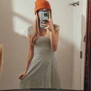 Striped, cross-back skater dress